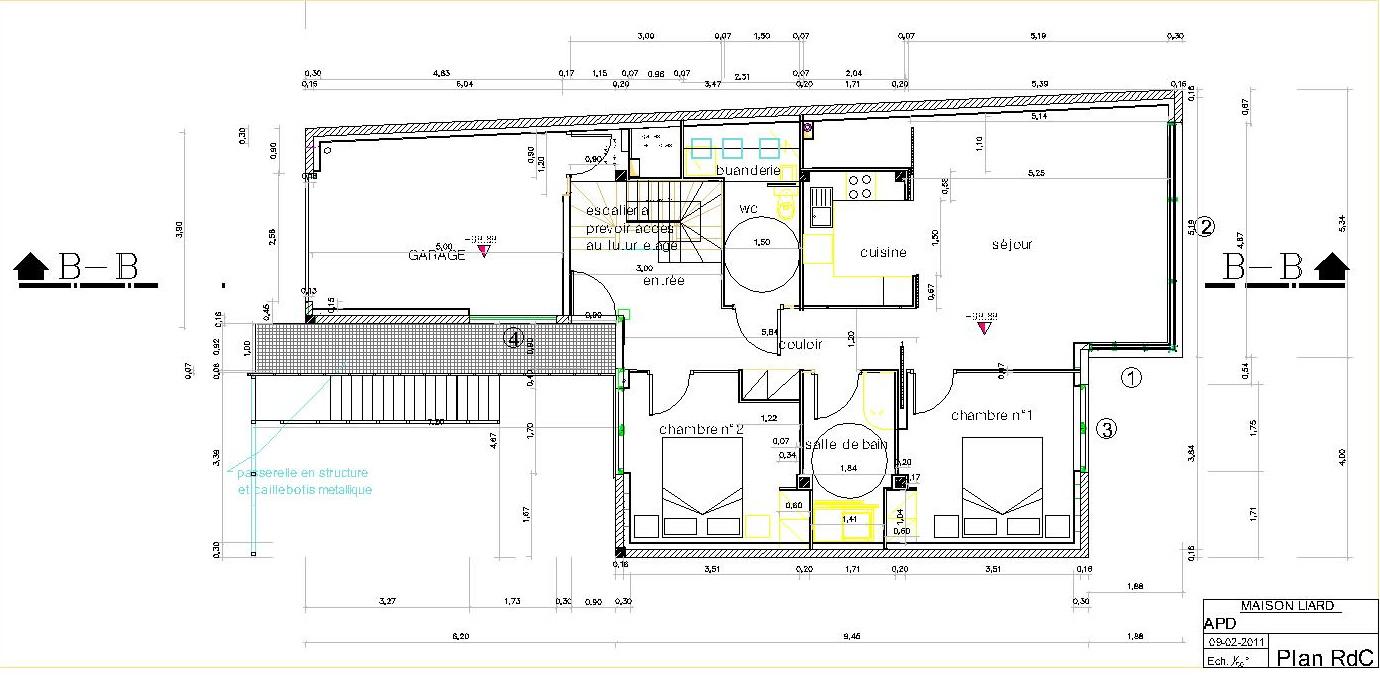 Plan rez-de-chaussée maison architecte